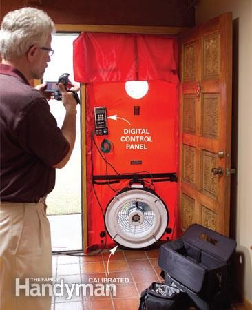 Blower door test - Save Money With Home Energy Audit Find out where you're losing energy—and what you can do to stop it Read more: http://www.familyhandyman.com/smart-homeowner/energy-saving-tips/save-money-with-home-energy-audit/view-all