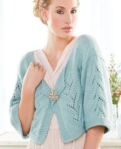Free knitting pattern for Hint of Lace Cardigan cropped cardi with three quarter sleeves