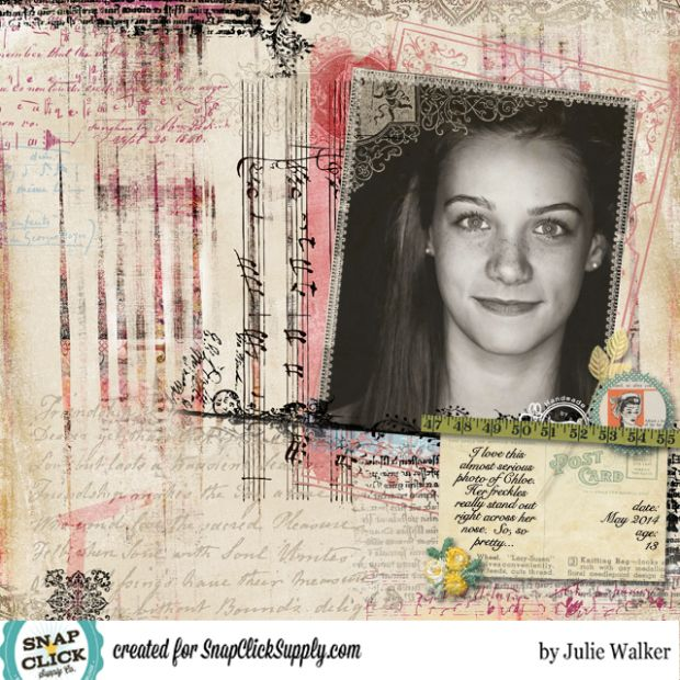 Digital layout by designer Julie Walker featuring the Vintage Artistry Quick Page by Jodie Lee available at www.snapclicksupply.com #digitalscrapbooking