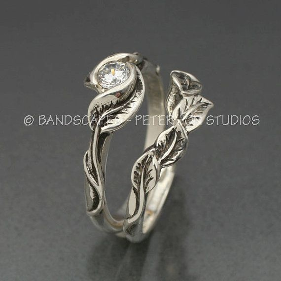 MOISSANITE DELICATE LEAF Engagement Ring by BandScapes - This would be my perfect engagement ring and wedding band set.