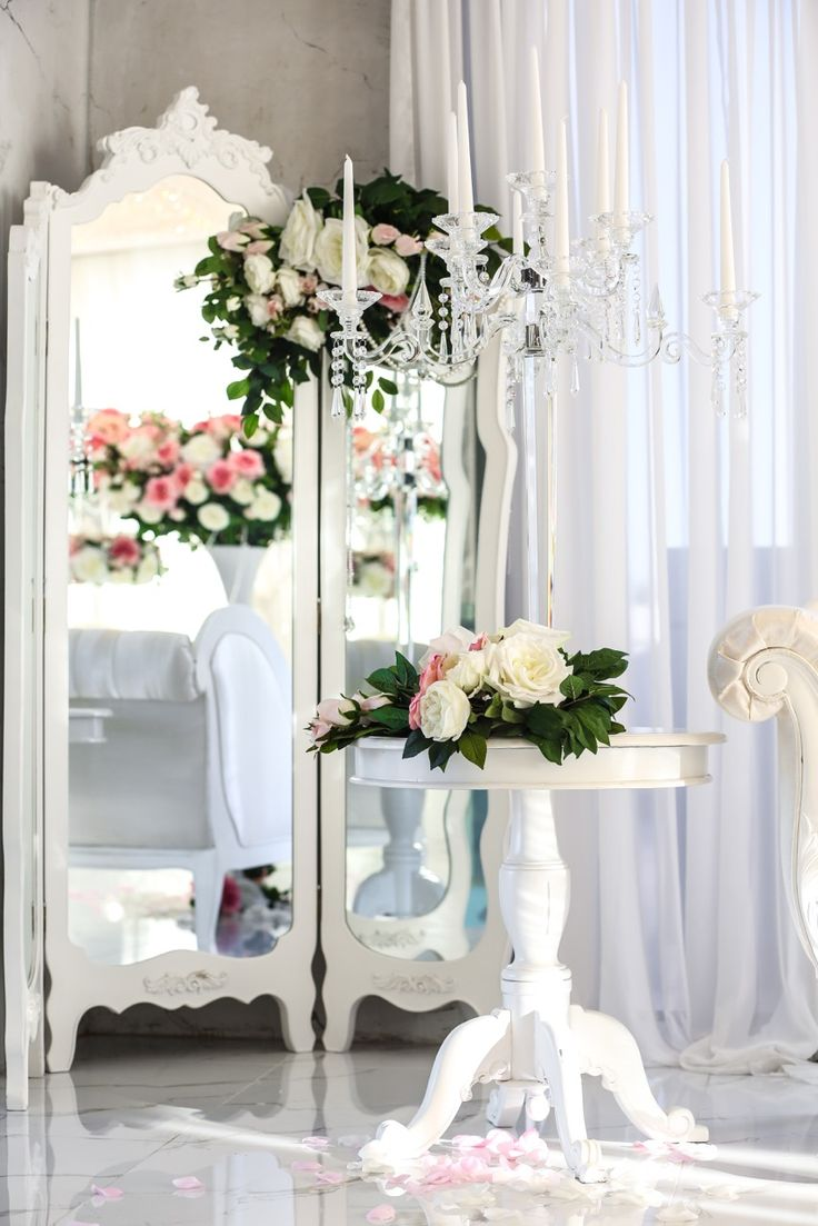 French Bilfold Mirror, table and crystal candelabra available for hire info@elanakweddings.com.au