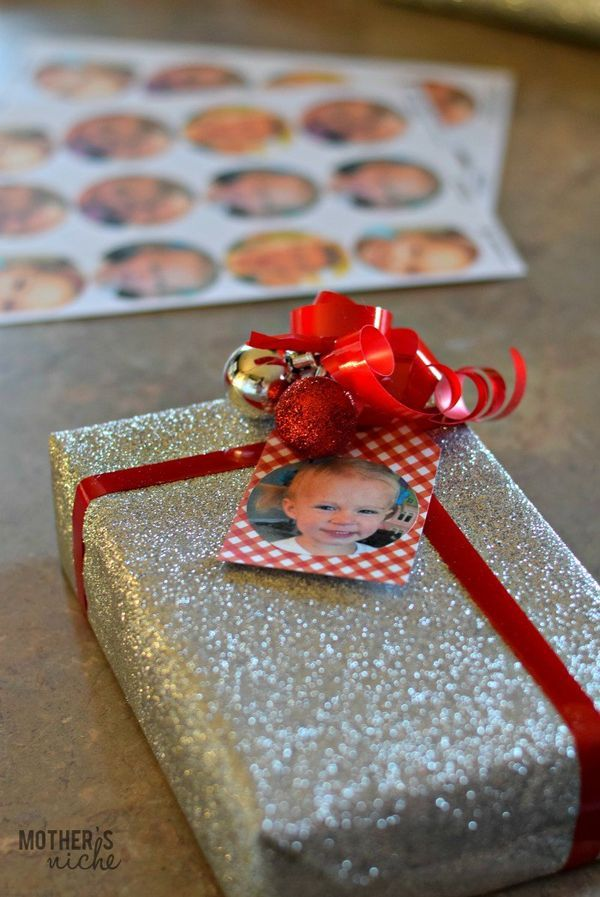 How to make your own personalized gift tag stickers (Extra awesome for kids that can't read yet. They can quickly tell who's gift is for who)