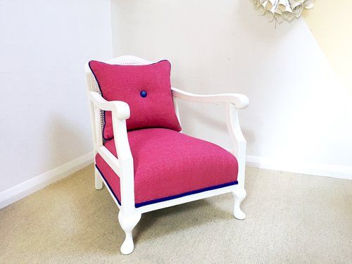 Queen Anne chair in pink gold fleck fabric   Armchair reupholstery