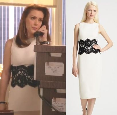 Mistresses Episode 12: Savi (Alyssa Milano) in the same white Michael Kors boucle/wool sheath dress with black lace detail see on Oliva People in #scandal #getthelook #mistresses