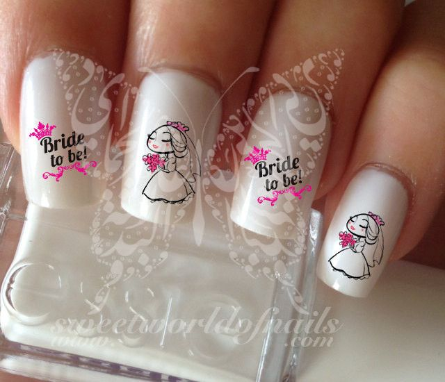 Wedding Nail Art Bride to Be Nail Water Decals Transfers Wraps