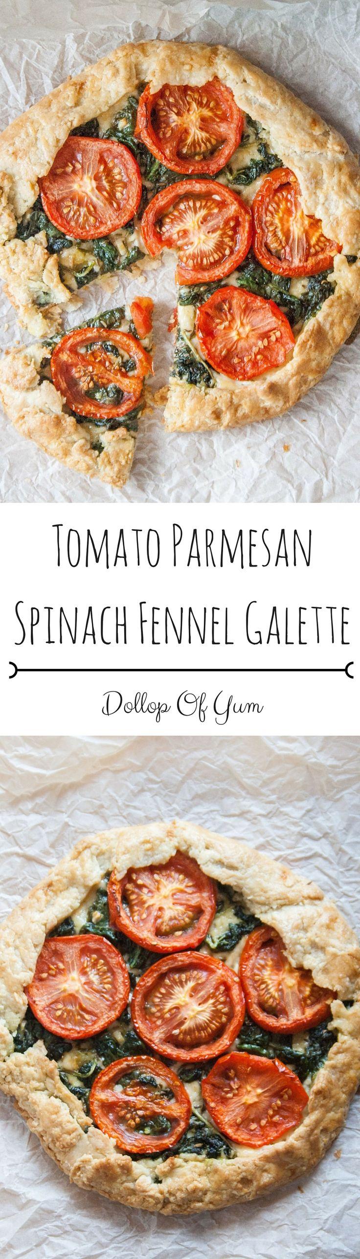 Tomato Parmesan Spinach Fennel Galette
