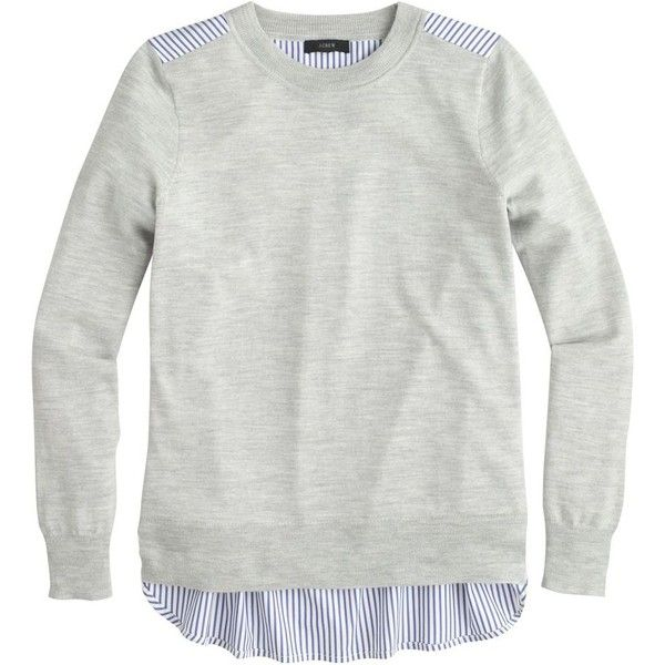 J.Crew Mixed-media sweater in heather dusk found on Polyvore