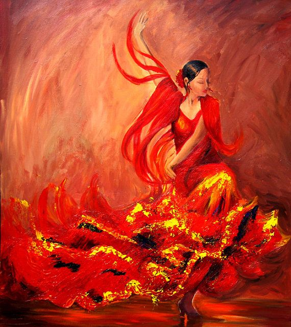 Flamenco painting of a dancer in red dress, Limited edition fine art print on canvas, highlights painted with pallet knife