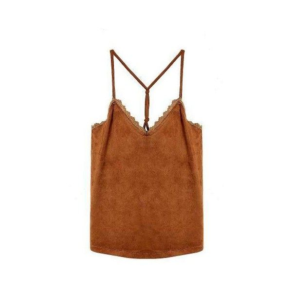 Yoins Tan Suedette Petal Trim Cami Top -Tan  One Size (£9.21) ❤ liked on Polyvore featuring tops, brown camisole, tan top, brown tops, cami tops et cami tank tops