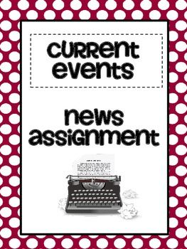 Want students to be informed about current events? Try this current events news assignment from 2 Peas and a Dog ($1.50)
