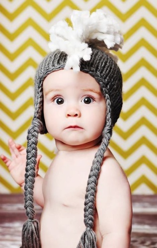 Grey Mohawk Hat - Need the hat and this baby!  YUM