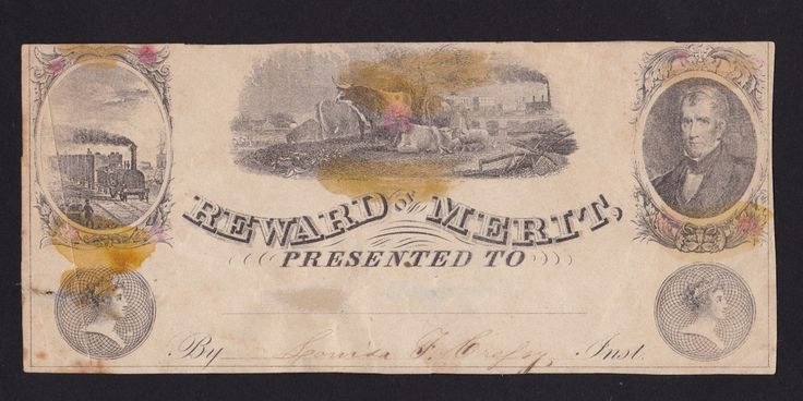 c1800s victorian School Reward of Merit train & cows scene ephemera