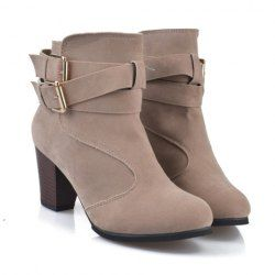 Fashionable Women's Short Boots With Buckles and Chunky Heel Design (GRAY,39)   Sammydress.com Mobile