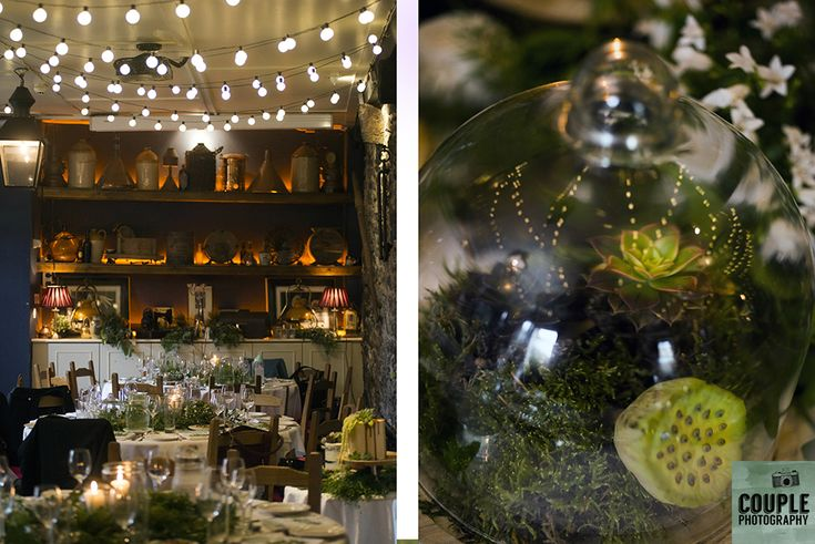 Dreamy decor inside The Abbey Tavern. Wedding in The Abbey Tavern, Howth. Photographed by Couple Photography.