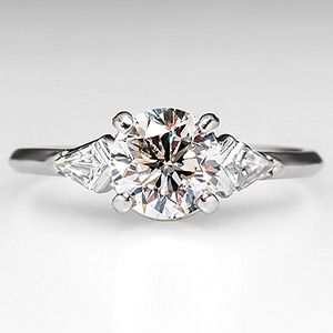 Vintage Diamond Engagement Ring w/ Kite Cut Accents Platinum 1950's