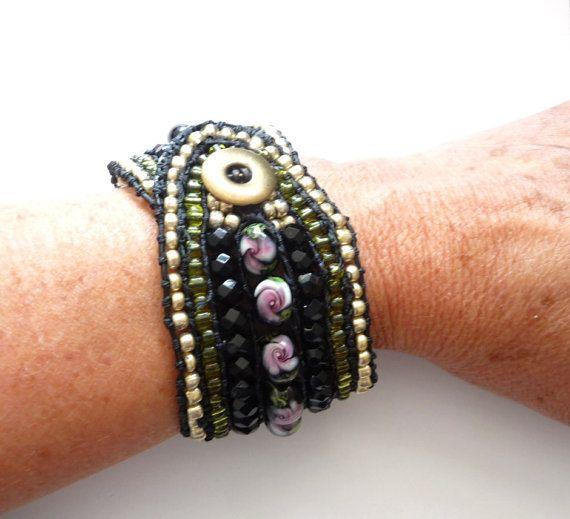 Boho Chic beaded leather cuff bracelet by Beadsagogo on Etsy, $70.00