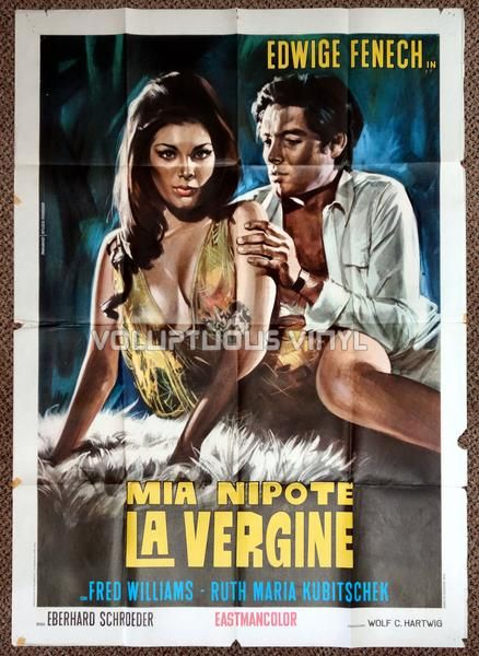 Original Italian film poster for the 1970 release of Mia nipote la vergine (Madame and Her Niece) a German Sexploitation film starring Edwige Fenech.