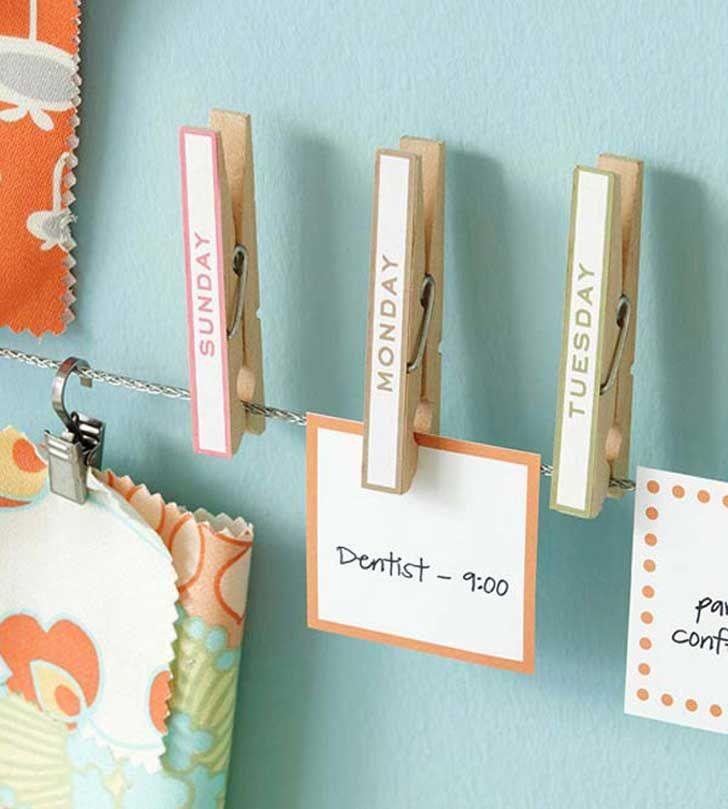 Una cuerda y sujetadores te ayudarán como calendario