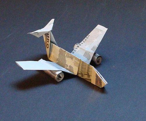 Plane money aircraft origami artwork paper design