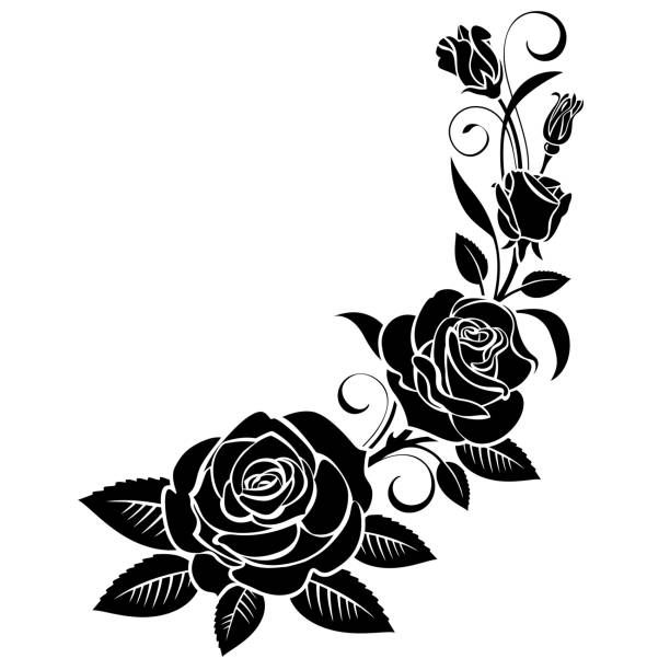 Branch Of Roses On A White Background Rose Stencil Vector Art Illustration Flower Stencil