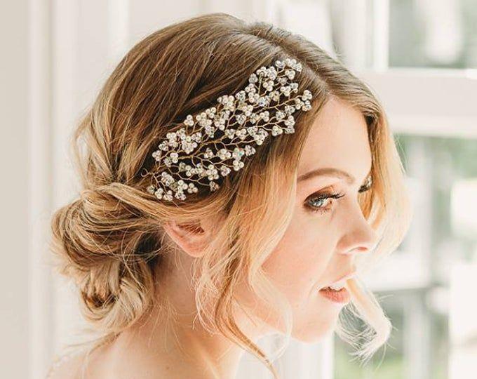Pearls and Crystals Bridal Wreath bridal headband wedding rose gold hair vine