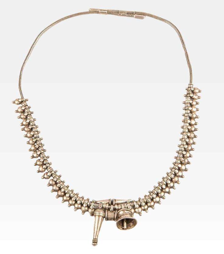 Collana indiana con pepite in argento