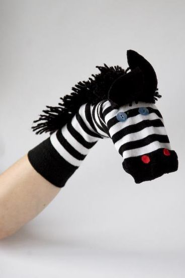 Flossie's fluffy zebra sock puppet...rainy day crafts