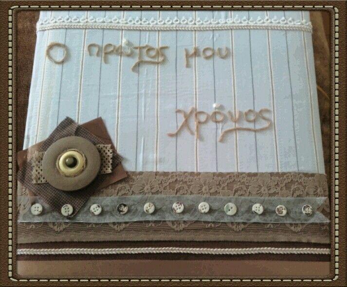 Baby's boy first year custom made scrap book.