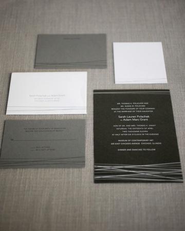 Invitaciones Modernas - en negro, gris y blanco