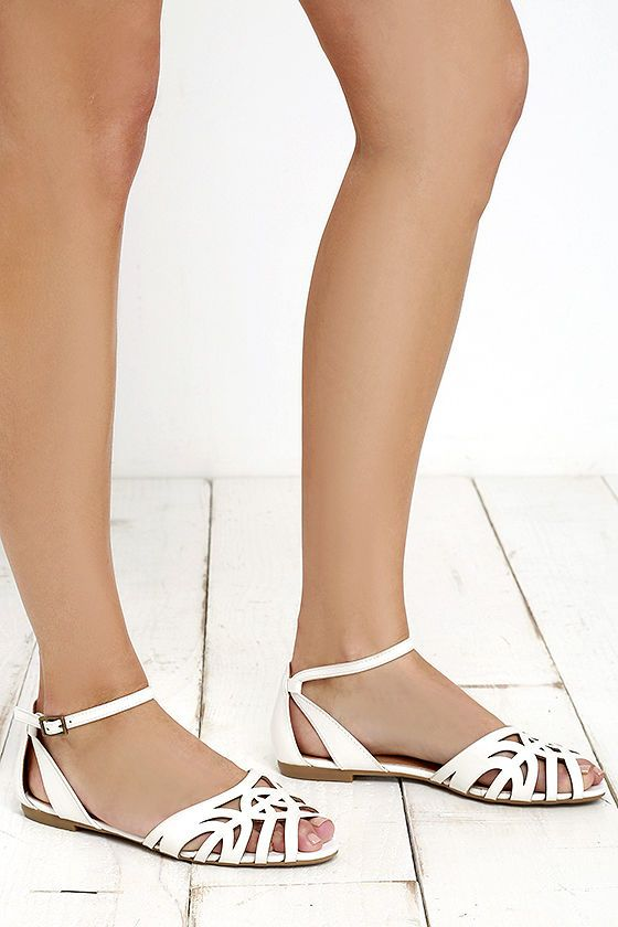 Keepin' it Classy White Ankle Strap Flats at Lulus.com!