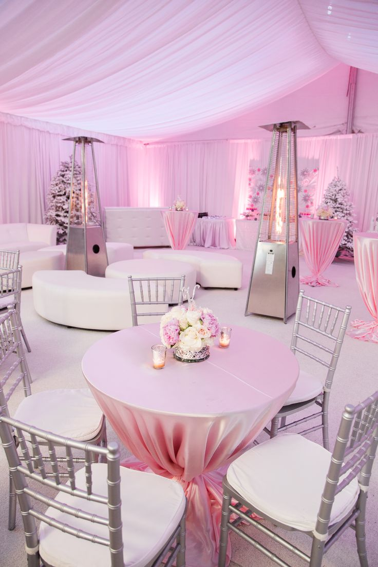 A Pink Winter Wonderland Baby Shower. Perfect For A Holiday Baby. Rentals  By @