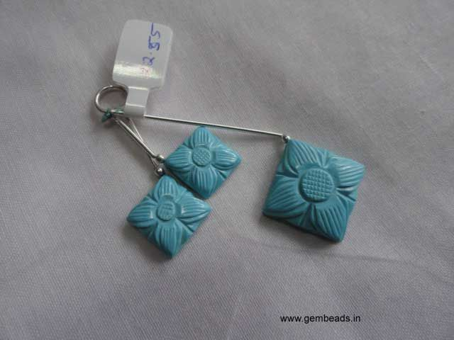 Beautifully flower embossed turquoise carving beads!! use it in your drop earrings and a pendant to create casual jewelry set!!  buy here:  http://gembeads.in/carving-gemstones