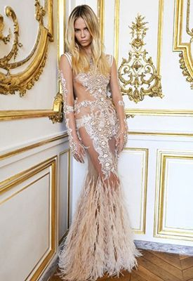 Givenchy Lace Feather Gown Model Natasha Poly In A Breathtaking Floor Length Dress With Intricate Beaded