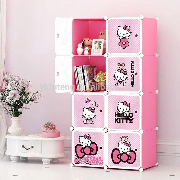 Hello Kitty plastic closet cartoon picture kids Baby wardrobe design