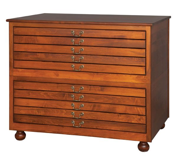 5 Drawer Flat File Cabinet (Stackable) available in Oak, Clean Stain Grade Maple, Cherry, or Quarter Sawn White Oak.