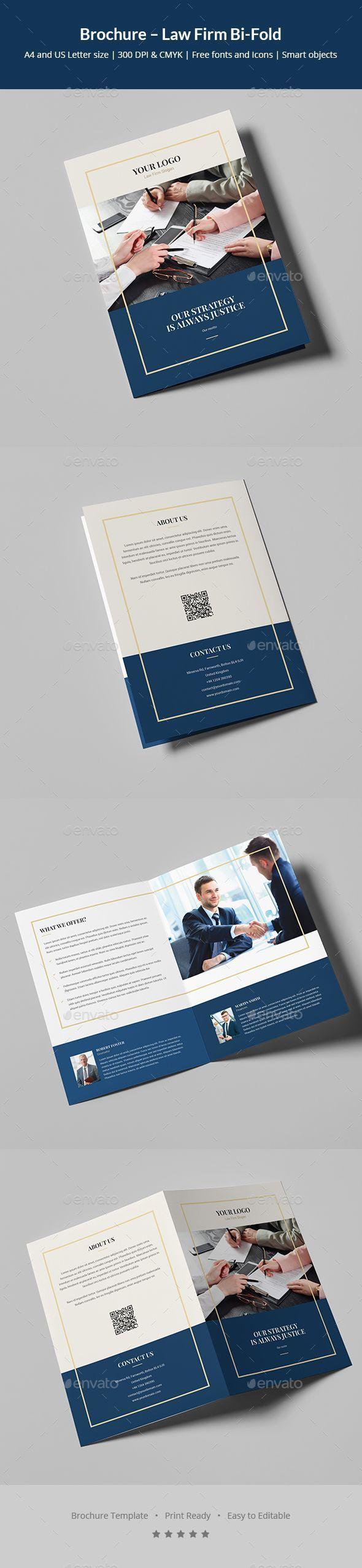 Law Firm Bi-Fold Brochure Template PSD - A4 and US Letter Size #FinanceBrochure #lawyersandadvocates