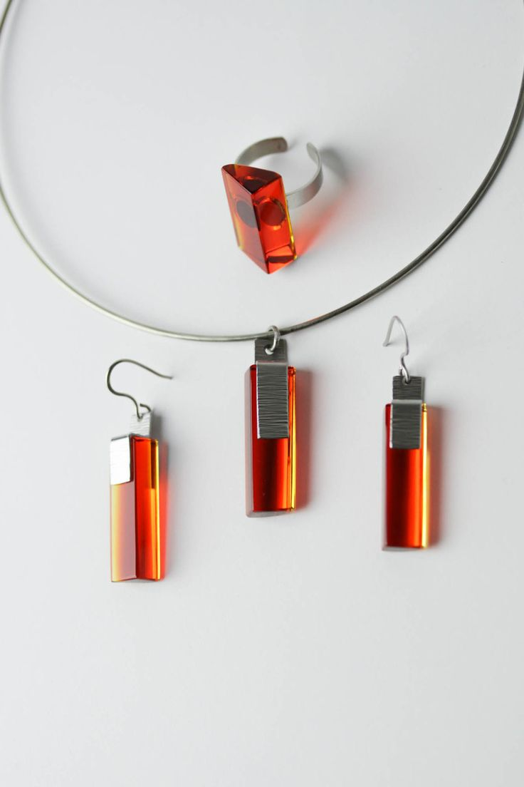 Exclusive Red Jewelry Set, Red with Yelow Glass, Stainless Steel, Necklace, Ring and Earrings,Glass Jewelry Set, Free Shipping by OlivaGlass on Etsy