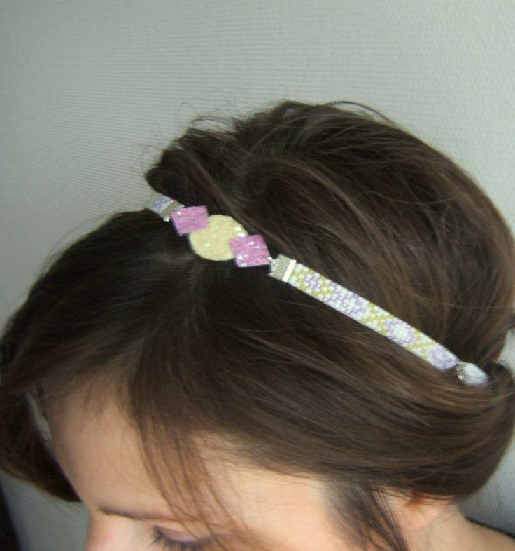 Headband / Bijou de Tête / Bandeau de Cheveux / Serre Tête Tissé Motif Géométrique et Glitter Paillettes Jaune et Violet : Accessoires coiffure par emma-shop