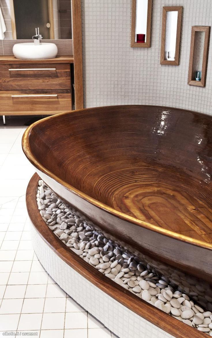 Beautiful wooden bathtub.