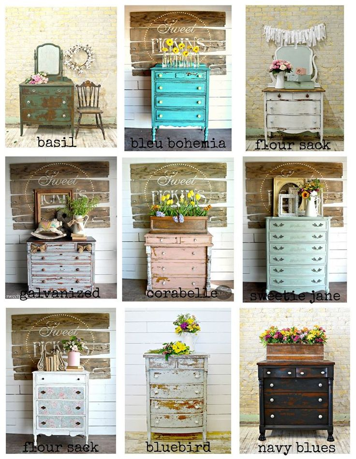 Vintage Dresser Inspiration ! These beautiful dressers were painted by Sausha of Sweet Pickins Milk Paint .