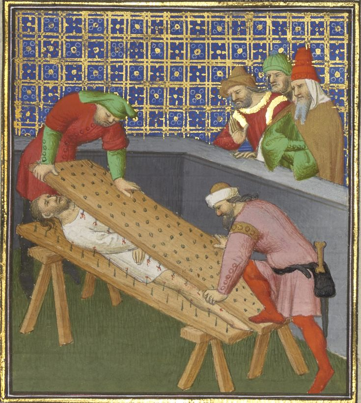 c. 1413-1415 - 'The Death of the Roman Consul Marcus Atilius Regulus' by Boucicaut Master (anonymous French or Flemish miniaturist and illuminator active between 1400 and 1430 in Paris. He worked in the International Gothic style) for Concerning the Fates of Illustrious Men and Women by Giovanni Boccaccio (Italian, Certaldo, 1313-1375).