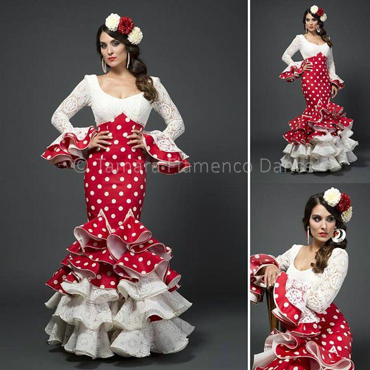 Modelo Alicia de la coleccion Tamara Flamenco Dance 2015  https://www.tamaraflamenco.com/es/alicia-rojo-lunares-blancos/trajes-de-flamenca-2015-mujer-536#.Vdbu5_ntlBc