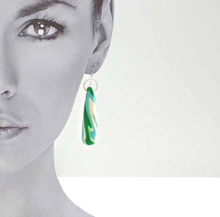 Conical - Green Swirl. 925 sterling silver ear hooks. $30