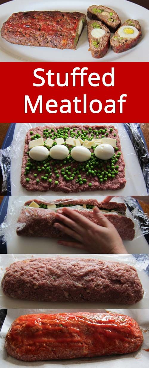 This stuffed meatloaf has a surprise inside! Love this recipe! | MelanieCooks.com