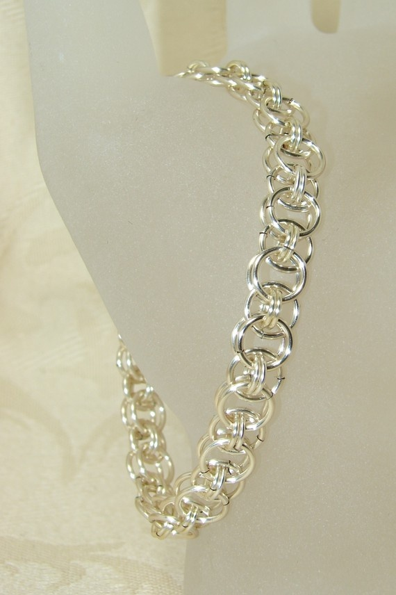 Silver Helm Chain Design Chain Maille Mail by ArtisticTouches, $24.00