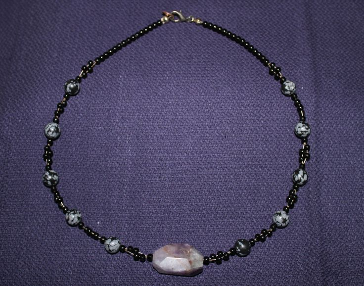 Chevron Amethyst and Snow Obsidian - made by Jess $25.00