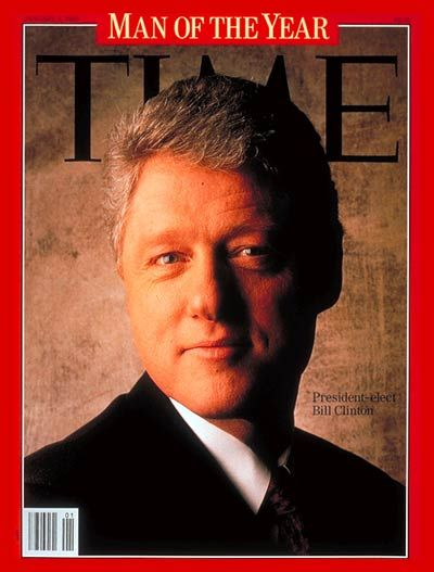 "1993: TIME names U.S. President William Jefferson ""Bill"" Clinton its Man of the Year."