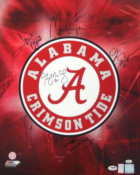 2009 Autographed 16x20 Photo Alabama Crimson Tide With 8 Signatures Including Mark Ingram PSA/DNA