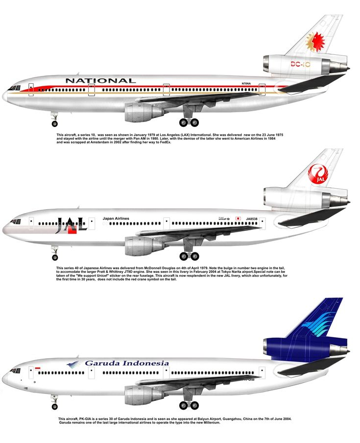National,Japan Airlines & Garuda Indonesia DC10