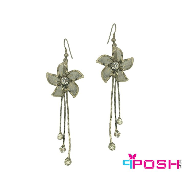 Nirit - Graceful flowery dangling earrings with crystal stone -Gun Metal colour -Dimensions: 9 X 3 cm $28 #earrings #jewelry